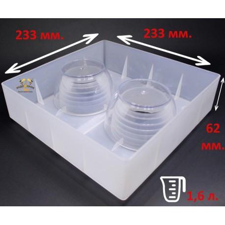 Кормушка квадратная с двумя стаканами 1,6 л