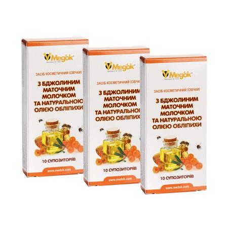 Месячный профилактический курс фитосвечей с маточным молочком (3шт)