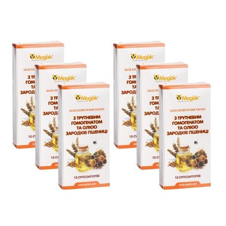 Месячный лечебный курс фитосвечей с трутневым гомогенатом (6шт)